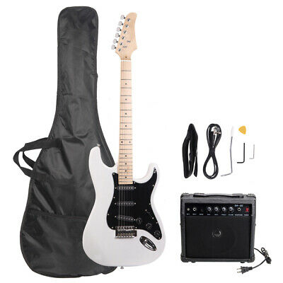 New 22 Frets ST Burning Fire Electric Guitar White with Bag & 15 AMP