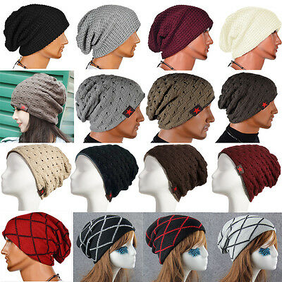 Men's Women Unisex Knit Baggy Beanie Winter Hat Ski Slouchy Cap Skull Oversize