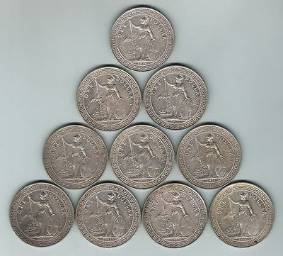 Great Britain.  1911-B Trade Dollar x 10 Coins..  Part  Lustre..  VF-aEF/EF