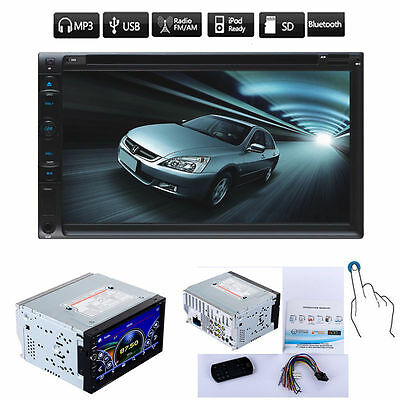 "Double 2 Din 7"" In Dash Stereo Car DVD CD Player Bluetooth Radio iPod SD/USB/AUX"