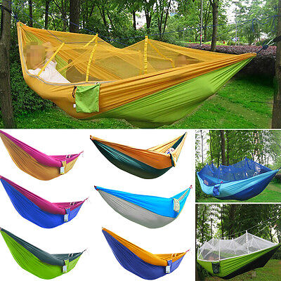 Single Double Person Fabric Hammock Outdoor Camping Swing Sleeping Parachute Bed