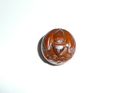 "Adorable BAT Round Boxwood Shank Button - Approx. 1"" diameter"