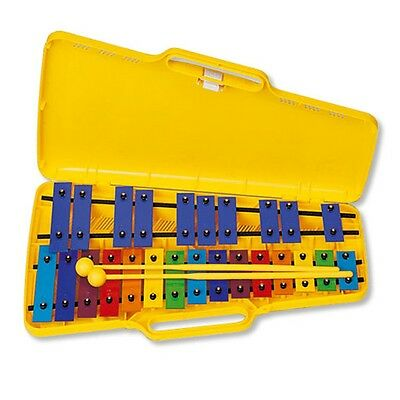 Angel Chromatic Glockenspiel 25 coloured bars, yellow case, with beaters