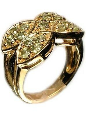 Gold Ring w/17 Green Sapphires Handcut Ancient Rome Abundance God Saturn Gem 9kt