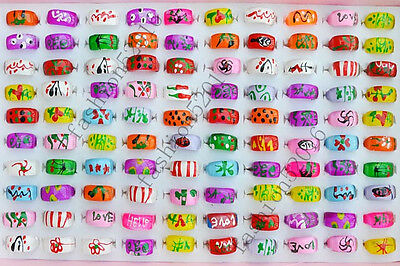 Wholesale Lots jewelry 50pcs Heart Resin Lucite Children/Kid Rings 13-16mm FREE