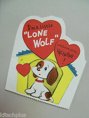 Vtg Valentine Card Spotted Beagle? Puppy Dog House Lone Wolf UNUSED