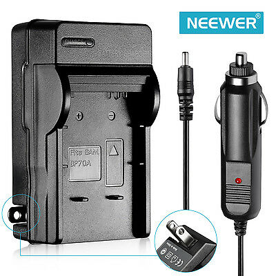 AC Wall CHARGER + In-Car Charger Adapter For Samsung BP-70A Battery
