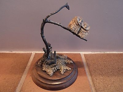 """Vintage (Country Artists) """"little Owl"""" Pairing On Branch - Gorgeous Quirky Item."""