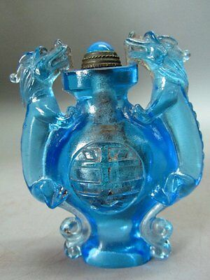 Chinese Blue Peking Overlay Glass Carved Dragon Shape Snuff Bottle