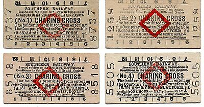 Railway Platform Tickets. Southern Railway. Charing Cross. Full Set Of 4