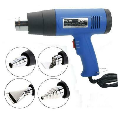 1500W Heat Gun Hot Air Wind Blower Dual Temperature + 4 Nozzles Power Heater New