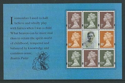 Great Britain 2016 Beatrix Potter Prestige Definitive Pane Unmounted Mint, Mnh