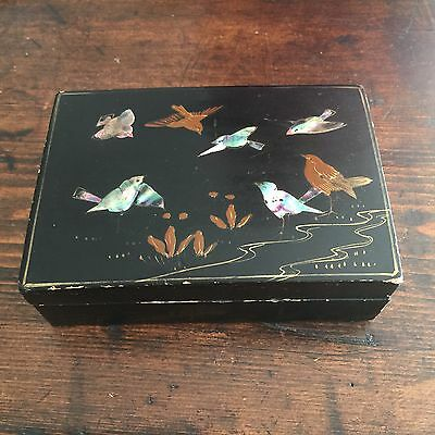 Unusual Antique Wooden Trinket Box inlaid with Mother- of- Pearl Birds.