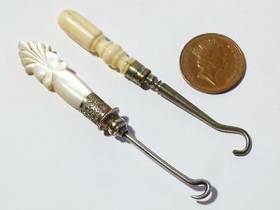 Two Antique SMALL Size Button Hooks Mother of Pearl , Nice Little Ones ETUI