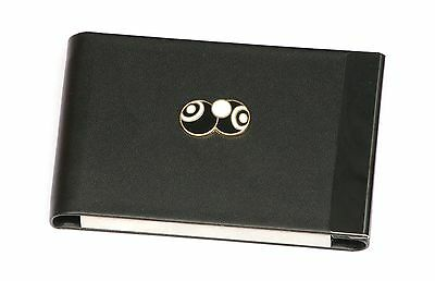 Bowls & Jack Black Enamel - Black PU and Metal Business Credit Card Holder 040