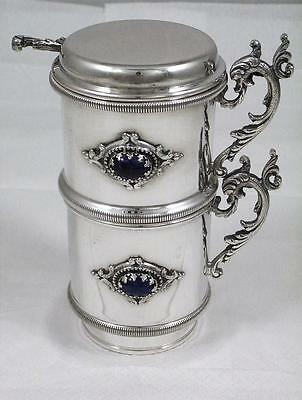 Antique Italian Solid Silver & Lapis Lazuli 1 Cup Coffee Making Drip Filter 1935