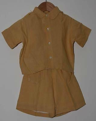 VINTAGE 1950s TODDLER HARRODS YELLOW LINEN SHORTS AND SHIRT SUIT (4655)