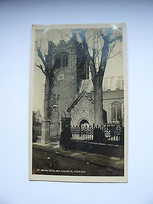 Real Photo RP Postcard St Mary at Elms Church Ipswich - Miss Sharp - 1907