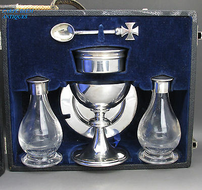 Wonderful Cased Solid Sterling Silver 6Ps Ecclesiastical Holy Communion Set 1965