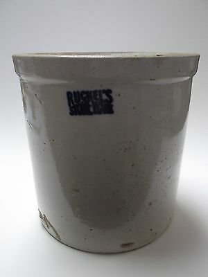 Antique 1 Gal Crock Mfg By Ruckel's Stoneware, White Hall Il