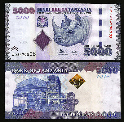 Tanzania 5000 Shillings 2010 (2015) Unc P.43 New Sign