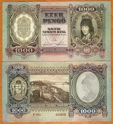 Hungary 1000 Pengo 1943, WWII, LARGE, P-116 aUNC to UNC