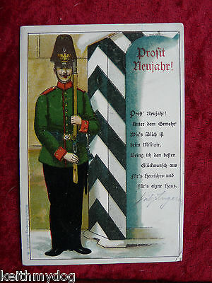 MILITARY GERMAN POSTCARD:Postmarked 31 December 1904-Happy New Year