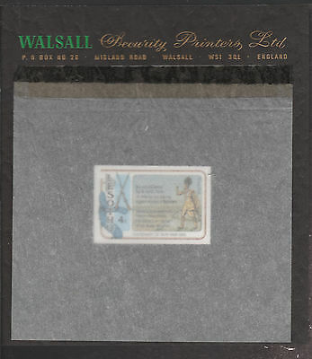 Lesotho (1870) - 1980 Gun War imperf 4s on WALSALL PROOF CARD