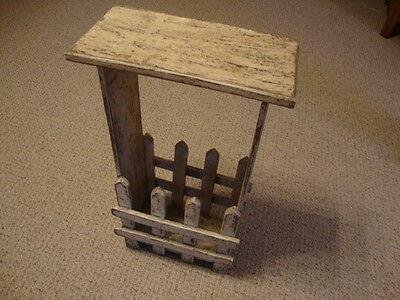 Primitive distressed chippy whitewash wood stand w/magazine/book holder