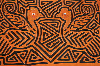Kuna Abstract Art Mola Hand stitched Applique Detailed Bird Labyrinth Maze 96A