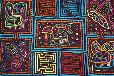 Kuna Abstract Traditional Mola Hand stitched Applique Textile Wild Life Bird 70A