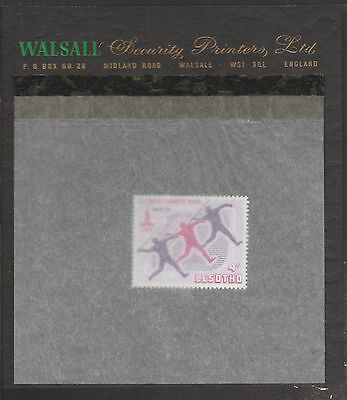 Lesotho (1875) - 1980 Moscow Olympics - Javelin 4s essay on WALSALL PROOF CARD