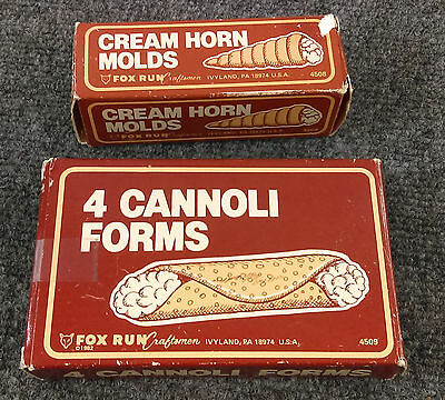 Vintage 1982 FOX RUN CRAFTSMEN Cream Horn & Cannoli Forms Pastry 4508 4509