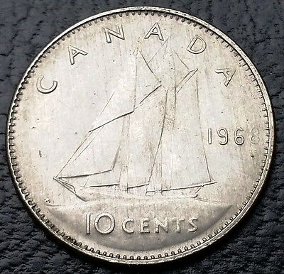 """1968 """"Weak 8"""" Error Canada 80% Silver Dime - 10 Cents - FREE COMBINED S/H"""