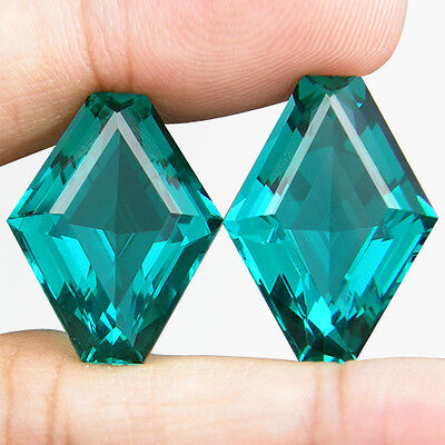 31.14 CT. MATCHING PAIR FANCY CUT GREEN BLUE PARAIBA NANO APATITE 21 x 16.2 MM