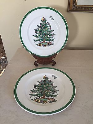 SPODE CHRISTMAS TREE  SALAD / DESSERT PLATES SET Of 2! MADE IN ENGLAND  7.75""