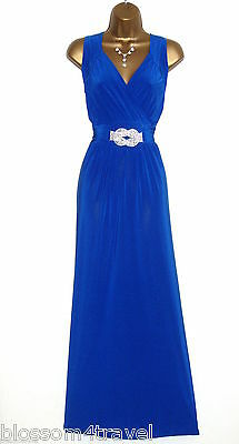 Long Blue Diamante Trim Cross Over Bust Maxi Evening Party Dress 16-26 Cruise
