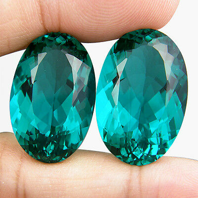 41.70 CT. MATCHING PAIR OVAL GREEN BLUE PARAIBA NANO APATITE 23 x 14.5 MM