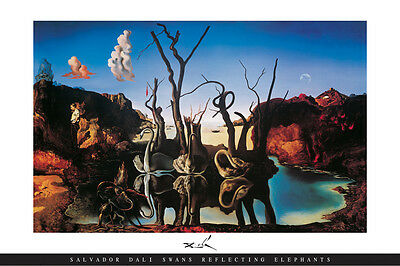 Swans Reflecting Elephants classic art poster by Salvador Dali famous print