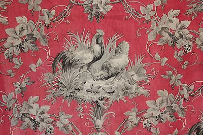 Antique French country  ROOSTER fabric red + gray chicken