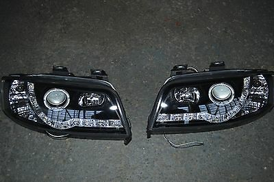 Black Led Daytime Running Lights Headlights Drl For Audi A6 2001-2004