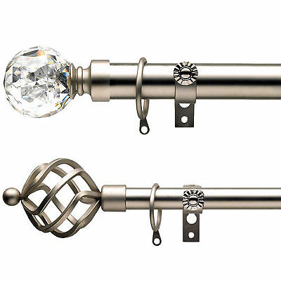 Extendable Value Brushed 16 – 19mm Curtain Pole / Rod Set - Steel