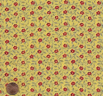 Antique 1880 Yellow and Red Calico Fabric