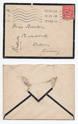 GB 1912 KGV Mourning Cover NOTTING HILL To SUTTON SG327