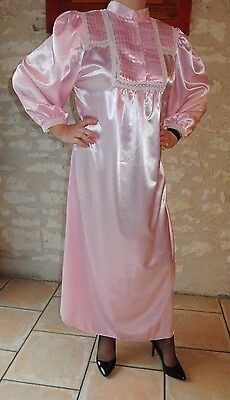 Robe Nuit Satin Rose Nightdress Sissy Nightgown Nightwear Adult Baby !947