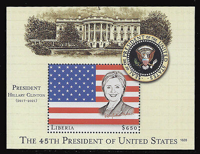 Liberia stamps 2017 rare unissued Hilary Clinton: 45th President USA s /sheet