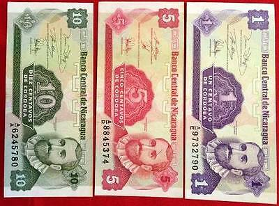 NICARAGUA - Used Banknotes x 3