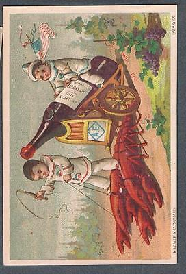 Original 1900's New York Merchant French Bordeaux Wine Advertising Trade Card