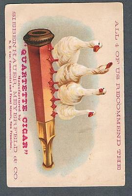 Original 1900's Quartette Cigar San Francisco Advertising Trade Card