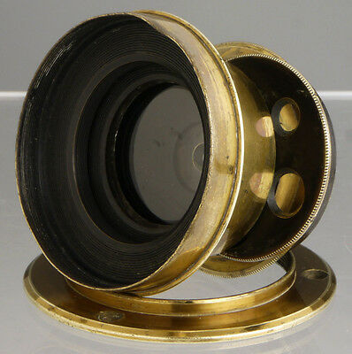 antique John Vilt wide angle French brass lens ____ for wood Plate Field cameras